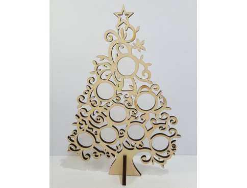 Украшение новогоднее Елка вырезная с подставкой дерево