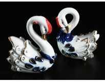 Два лебедя / Набор 2 шт / Стразы / 9 см / Бело-голубые